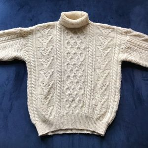 VTG BRITISH WOOL CABLE KNIT MARLE TURTLENECK BEIGE